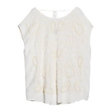 Buy Violeta by Mango Paisley Embroidered Blouse, Natural White Online at johnlewis.com