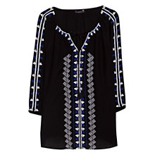 Buy Violeta by Mango Embroidered Blouse, Navy Online at johnlewis.com