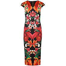 Buy Ted Baker Bismii Tropical Toucan Cap Sleeve Dress, Black/Multi Online at johnlewis.com