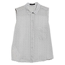 Buy Mango Printed Sleeveless Blouse, Natural White Online at johnlewis.com