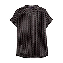 Buy Violeta by Mango Flowy Printed Shirt, Black Online at johnlewis.com