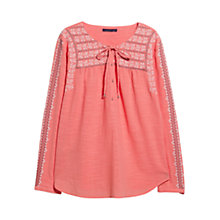 Buy Violeta by Mango Embroidered Boho Blouse, Light Orange Online at johnlewis.com