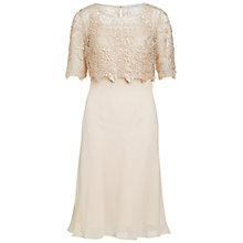 Buy Gina Bacconi Chiffon Dress With Guipure Lace Top, Beige Online at johnlewis.com