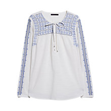 Buy Violeta by Mango Embroidered Boho Cotton Blouse, Acadia White Online at johnlewis.com