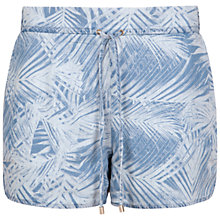 Buy Ted Baker Demitra Palm Print Denim Shorts, Baby Blue Online at johnlewis.com