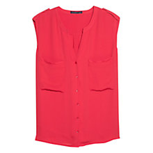 Buy Violeta by Mango Chest Pocket Blouse, Fuschia Online at johnlewis.com
