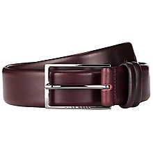 Buy BOSS Leather Carmello Belt, Burgundy Online at johnlewis.com