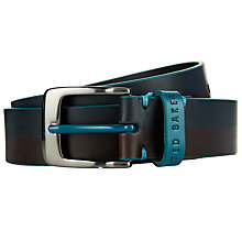 Buy Ted Baker Two-tone Printed Leather Colour Belt, Blue/Brown Online at johnlewis.com