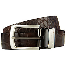Buy Ted Baker Reversible Crocodile Effect Leather Belt, Black/Brown Online at johnlewis.com