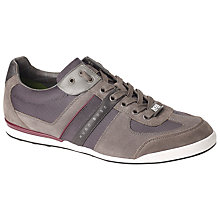 Buy BOSS Green Akeen Leather Trim Trainers, Grey Online at johnlewis.com