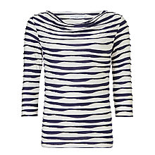 Buy John Lewis Capsule Collection Waved Lines Cowl Neck Top, Navy/Cream Online at johnlewis.com