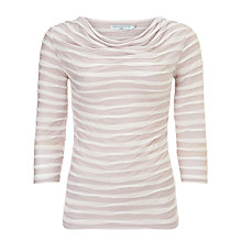 Buy John Lewis Capsule Collection Waved Lines Cowl Top, Cream/Windchime Online at johnlewis.com