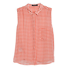 Buy Mango Sleeveless Check Blouse, Dark Orange Online at johnlewis.com