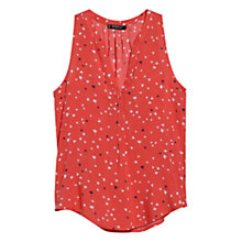 Buy Mango Star Print Dip Hem Top, Blood Orange Online at johnlewis.com