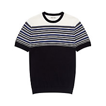 Buy Reiss Boston Striped Knitted Yoke T-Shirt, Navy Online at johnlewis.com