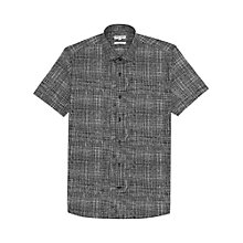Buy Reiss Maximus Textured Check Shirt, Black Online at johnlewis.com