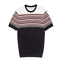Buy Reiss Boston Striped Knitted Yoke T-Shirt, Red Online at johnlewis.com