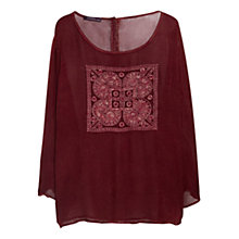 Buy Violeta by Mango Ethnic Embroidery Blouse, Wine Online at johnlewis.com