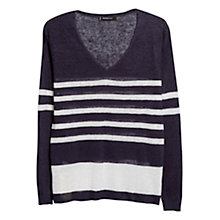 Buy Mango Linen Striped Jumper, Navy Online at johnlewis.com