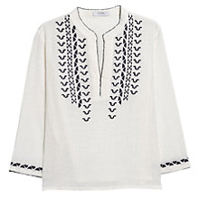 Buy Mango Embroidered Cotton Blouse, Navy Online at johnlewis.com