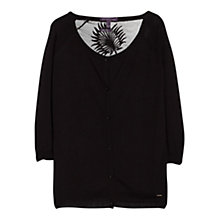 Buy Violeta by Mango Embroidered Panel Detail Cardigan, Black Online at johnlewis.com