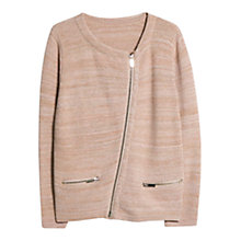 Buy Violeta by Mango Metallic Cotton-Blend Cardigan, Light/Pastel Pink Online at johnlewis.com