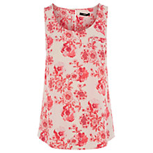 Buy Oasis Small Etched Botanical Vest, White/Red Online at johnlewis.com