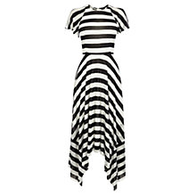 Buy Karen Millen Drape Bold Stripe Dress, Black/White Online at johnlewis.com