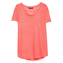 Buy Violeta by Mango Dip Hem Linen T-Shirt, Coral Online at johnlewis.com