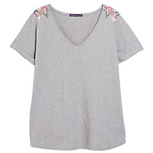 Buy Violeta by Mango Embroidery Bead Cotton Tee, Mineral Online at johnlewis.com