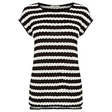 Buy Oasis Wiggle Stripe Top, Black/White Online at johnlewis.com