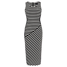 Buy Karen Millen Striped Jacquard Jersey Midi Dress, Black Online at johnlewis.com