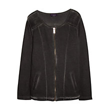 Buy Violeta by Mango Zip Collarless Jacket, Black Online at johnlewis.com