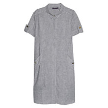 Buy Violeta by Mango Striped Linen Blend Shirt Dress, Beige/Khaki Online at johnlewis.com