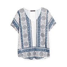 Buy Violeta by Mango Printed Linen T-Shirt, Dark Blue/Multi Online at johnlewis.com