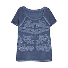 Buy Violeta by Mango Embroidered T-Shirt, Medium Blue Online at johnlewis.com