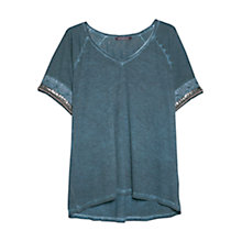 Buy Violeta by Mango Beaded T-shirt, Navy Online at johnlewis.com