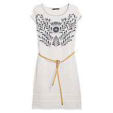 Buy Violeta by Mango Floral Embroidery Dress, Natural White Online at johnlewis.com