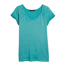 Buy Violeta by Mango Linen Blend Trim T-Shirt, Turquoise Online at johnlewis.com