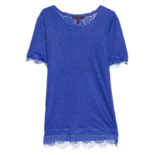 Buy Violeta by Mango Lace Detail T-shirt, Medium Blue Online at johnlewis.com