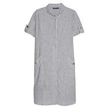 Buy Violeta by Mango Striped Linen-Blend Dress, Navy Online at johnlewis.com