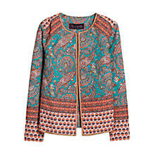 Buy Violeta by Mango Cotton Paisley Jacket, Turquoise/Aqua Online at johnlewis.com