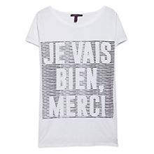 Buy Violeta by Mango Printed Message T-Shirt, White Online at johnlewis.com