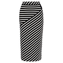 Buy Karen Millen Stripe Jersey Skirt, White / Black Online at johnlewis.com