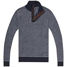 Buy Tommy Hilfiger Ethan Button Neck Jumper, Midnight Heather Online at johnlewis.com