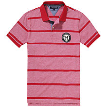 Buy Tommy Hilfiger Layton Stripe Badge Polo Shirt, Grenat Heather Online at johnlewis.com