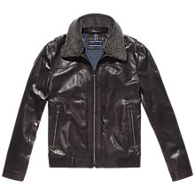 Buy Tommy Hilfiger Cole Leather Jacket, Mulch Online at johnlewis.com