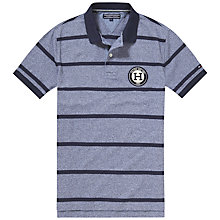 Buy Tommy Hilfiger Layton Stripe Badge Polo Shirt, Navy Blazer Heather Online at johnlewis.com