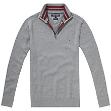 Buy Tommy Hilfiger Atlantic Zip Mock Neck Jumper, Silver Fog Heather Online at johnlewis.com