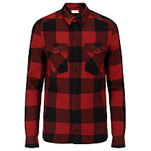 Buy Eleven Paris Mando Check Overshirt, Blood Red/Black Online at johnlewis.com